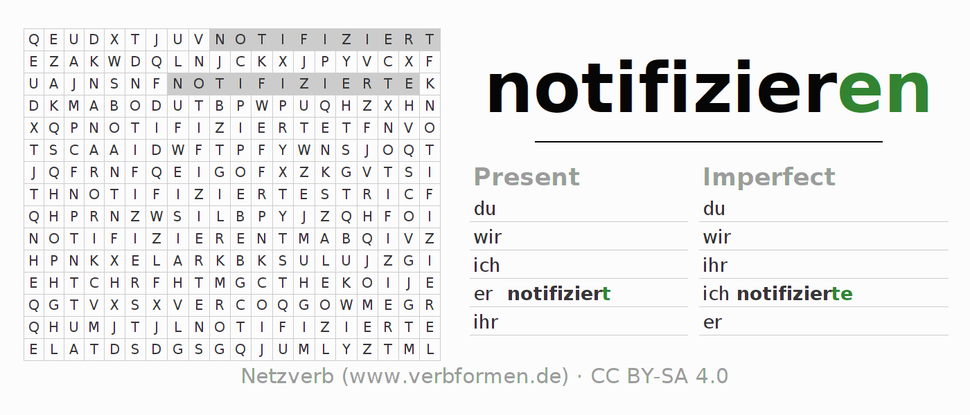 Word search puzzle for the conjugation of the verb notifizieren