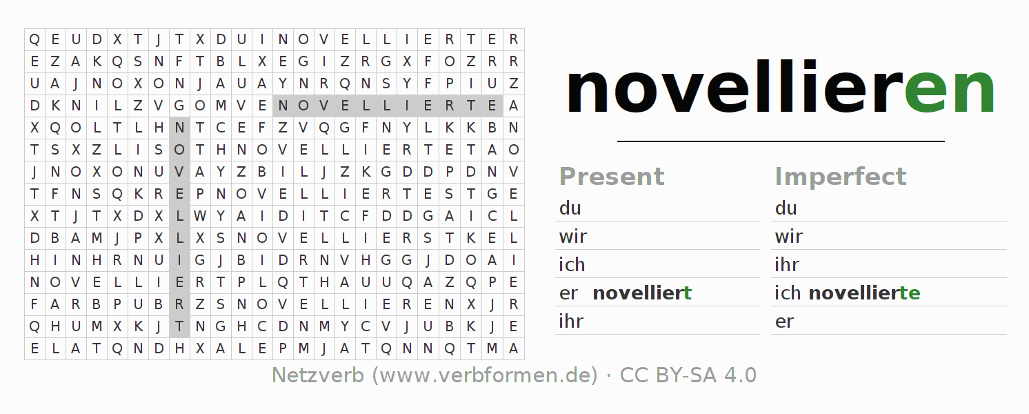 Word search puzzle for the conjugation of the verb novellieren
