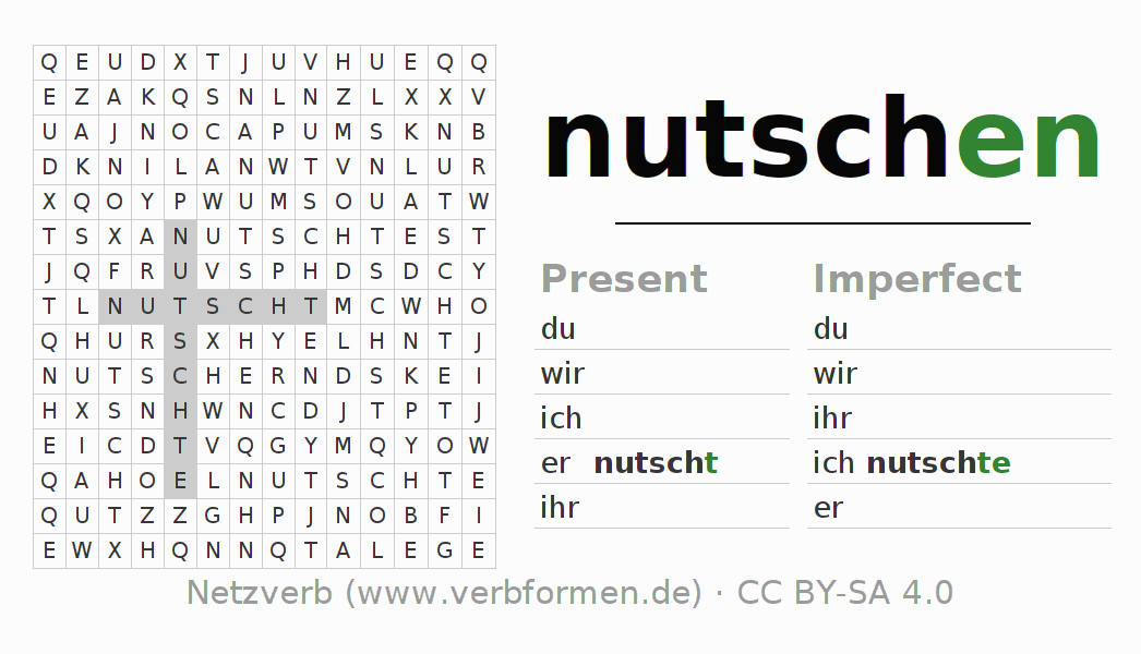 Word search puzzle for the conjugation of the verb nutschen