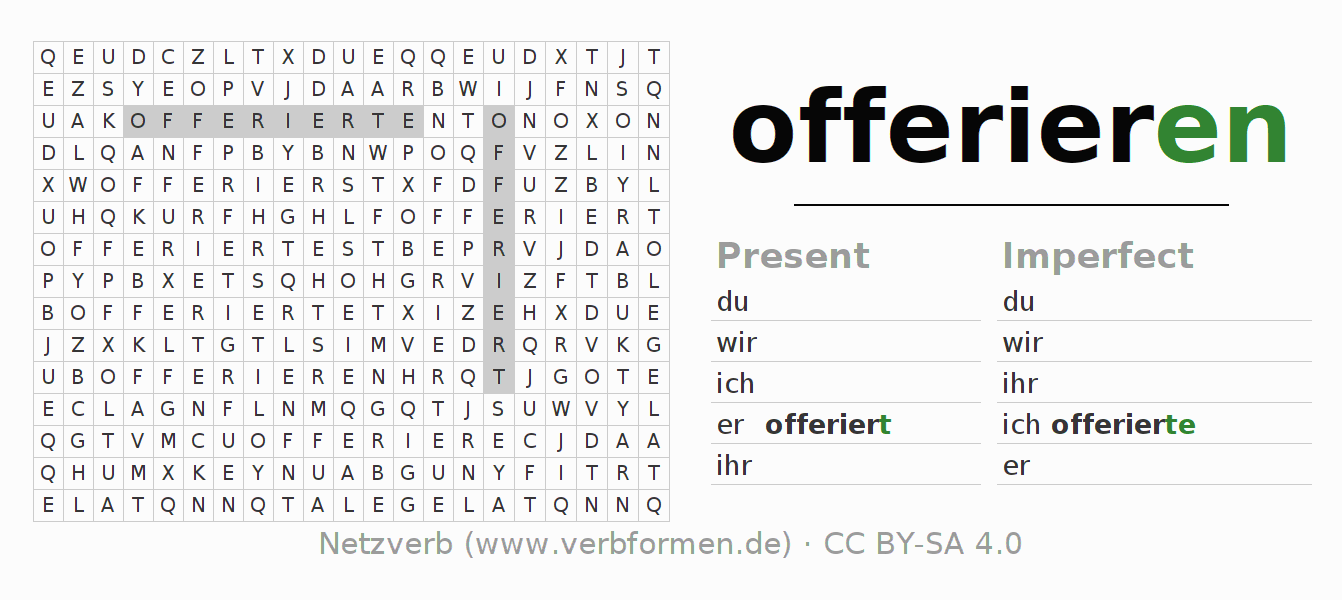 Word search puzzle for the conjugation of the verb offerieren