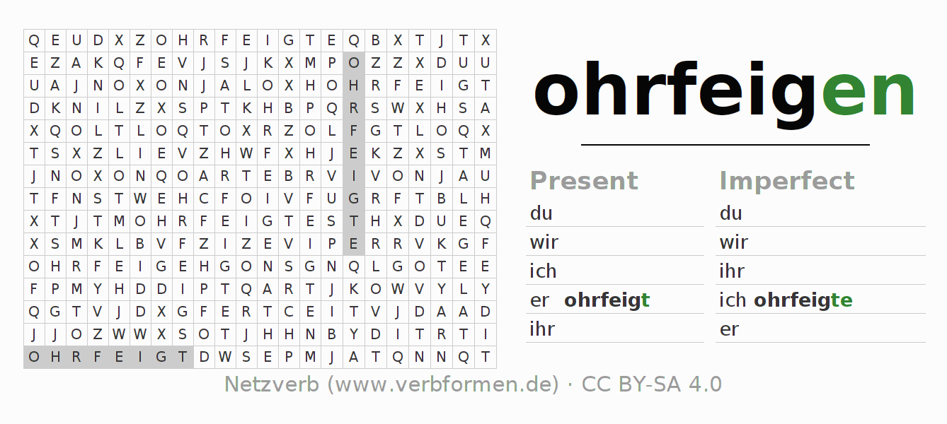 Word search puzzle for the conjugation of the verb ohrfeigen