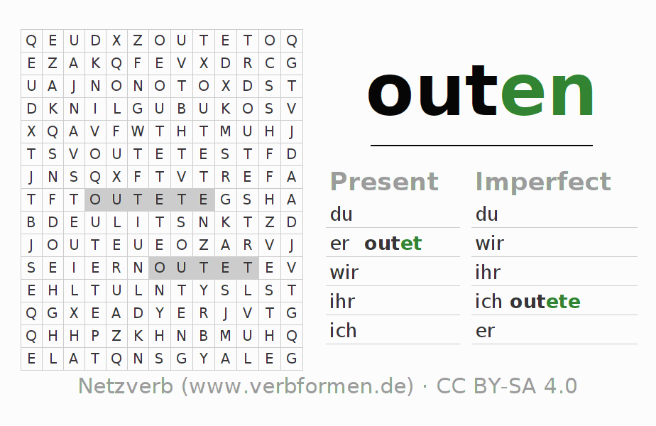 Word search puzzle for the conjugation of the verb outen