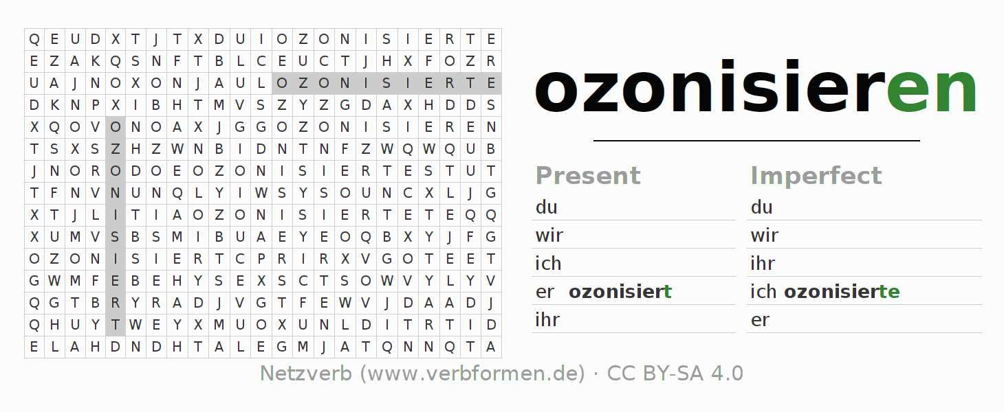 Word search puzzle for the conjugation of the verb ozonisieren