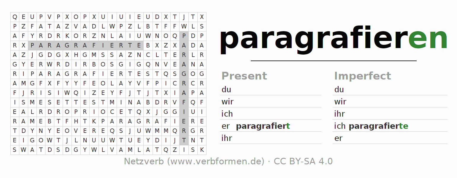 Word search puzzle for the conjugation of the verb paragrafieren