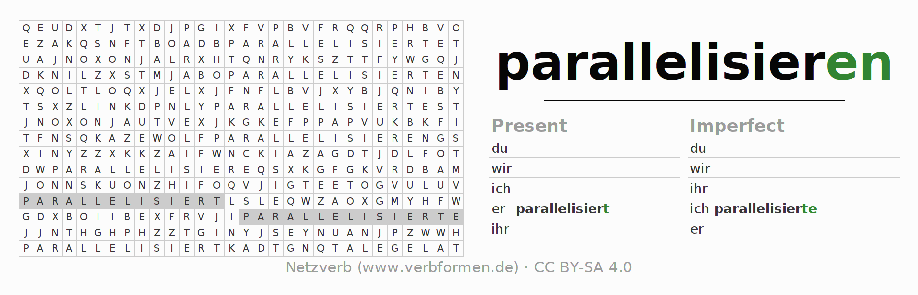 Word search puzzle for the conjugation of the verb parallelisieren