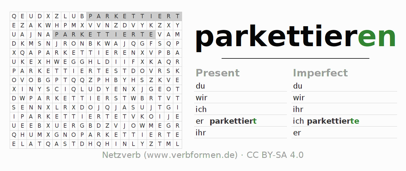 Word search puzzle for the conjugation of the verb parkettieren