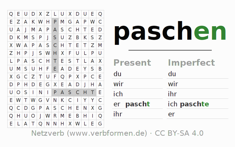 Word search puzzle for the conjugation of the verb paschen