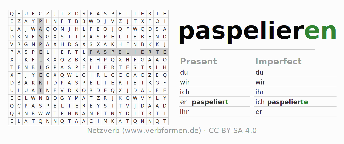 Word search puzzle for the conjugation of the verb paspelieren