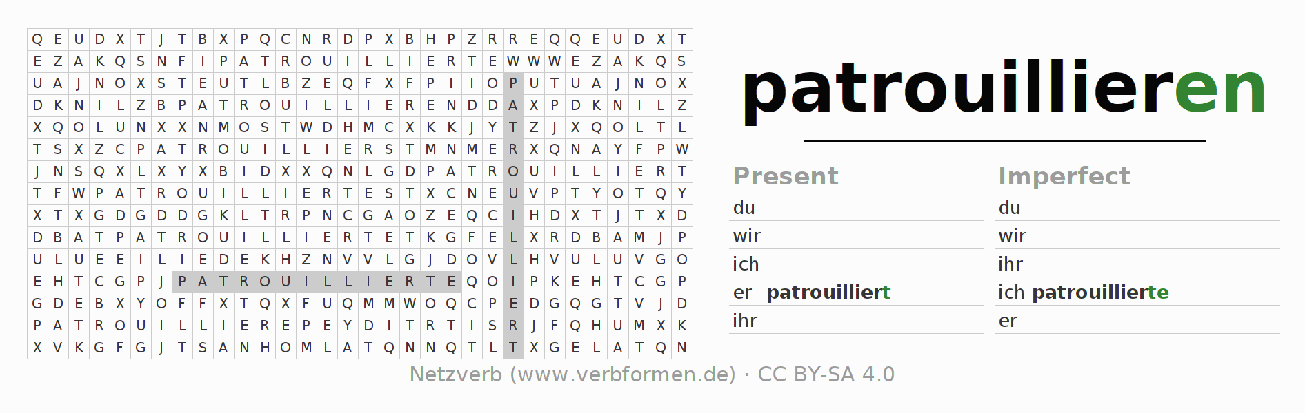 Word search puzzle for the conjugation of the verb patrouillieren (hat)