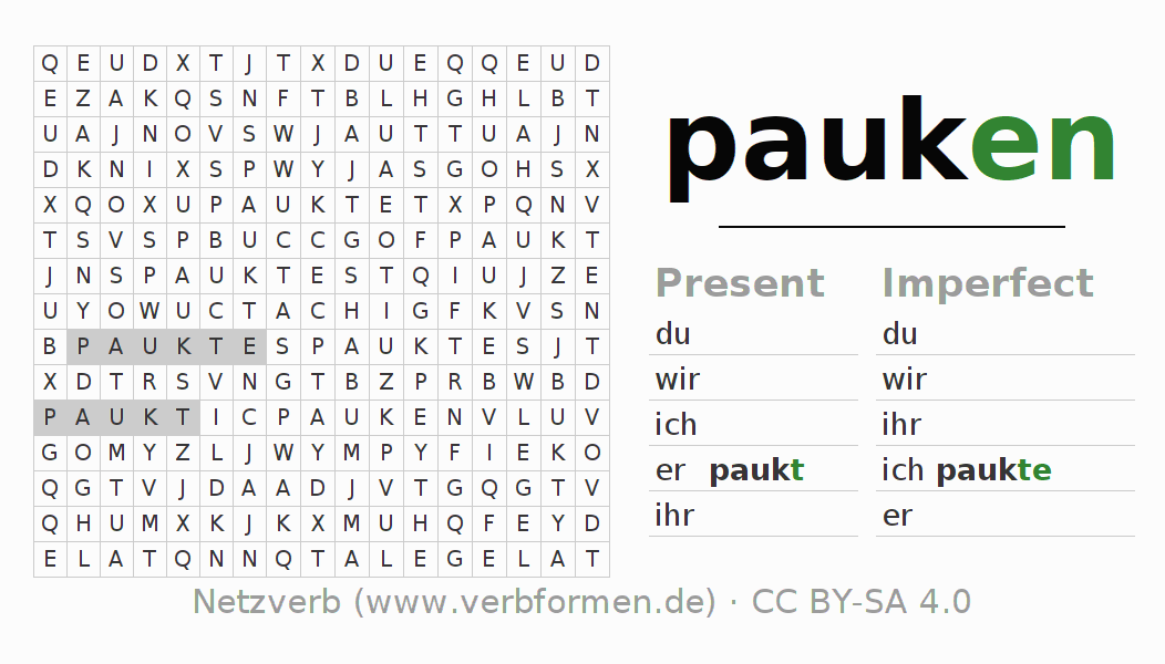 Word search puzzle for the conjugation of the verb pauken