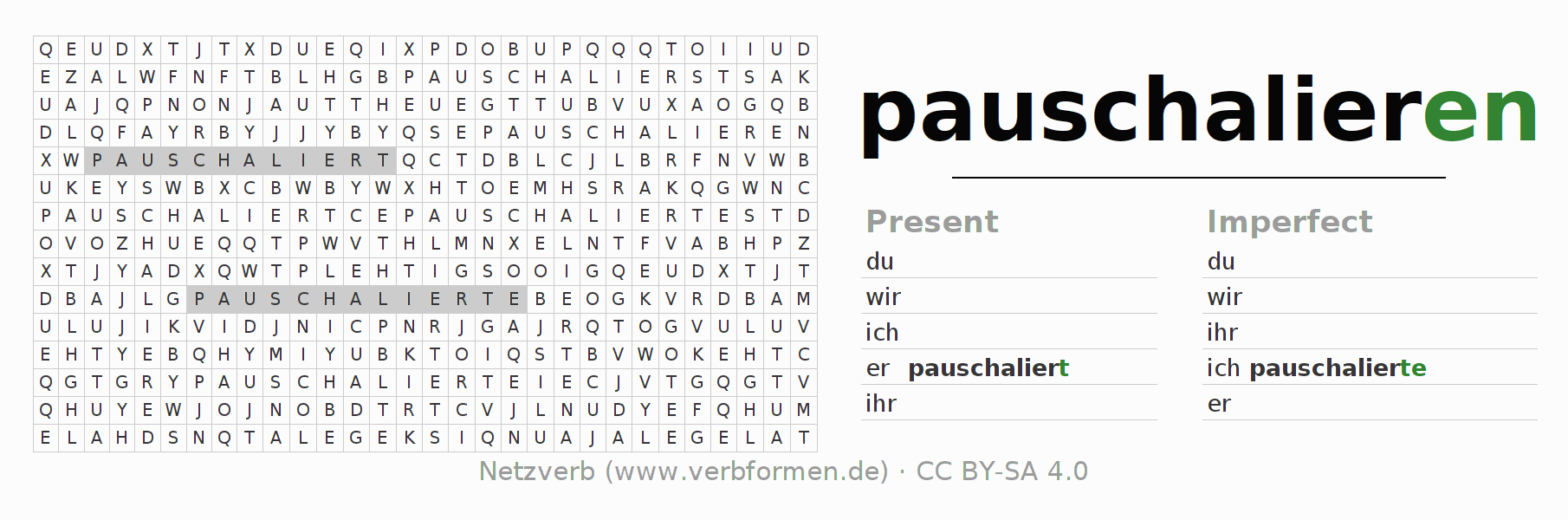 Word search puzzle for the conjugation of the verb pauschalieren