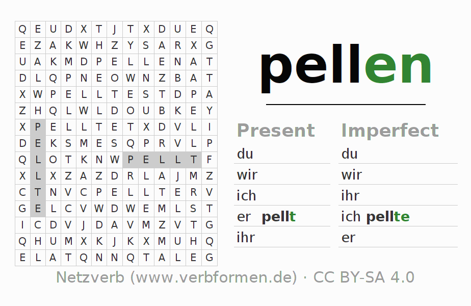 Word search puzzle for the conjugation of the verb pellen