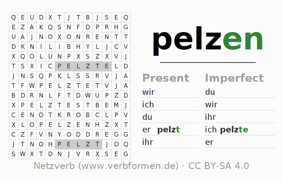 Word search puzzle for the conjugation of the verb pelzen