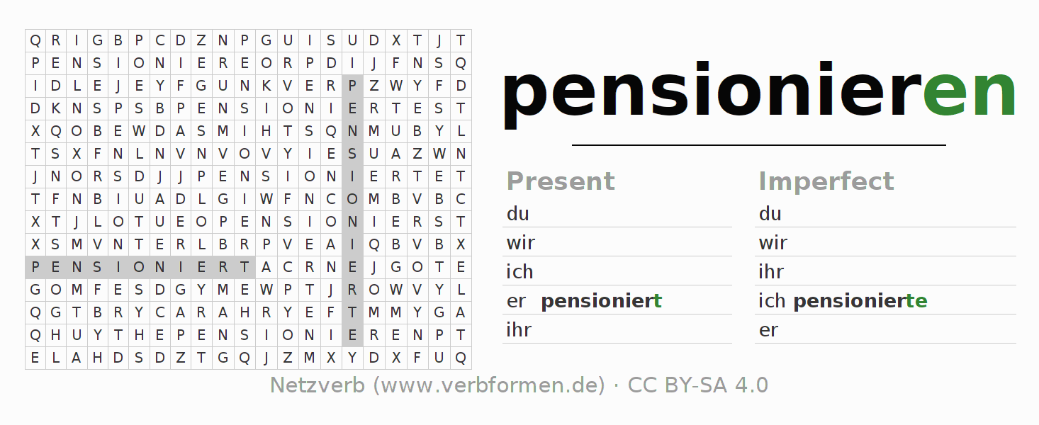 Word search puzzle for the conjugation of the verb pensionieren