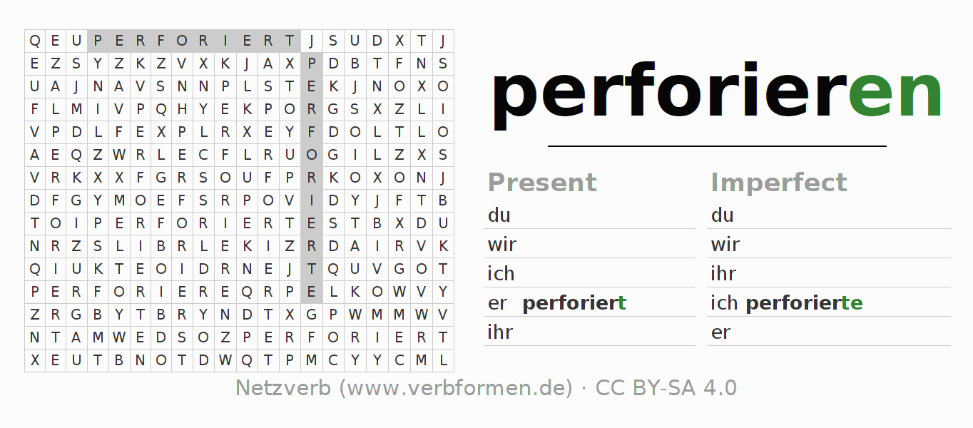 Word search puzzle for the conjugation of the verb perforieren (hat)