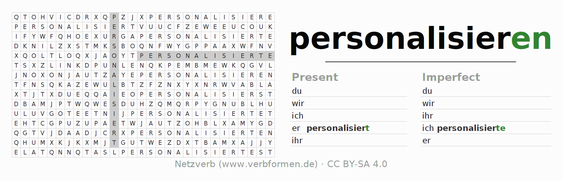 Word search puzzle for the conjugation of the verb personalisieren