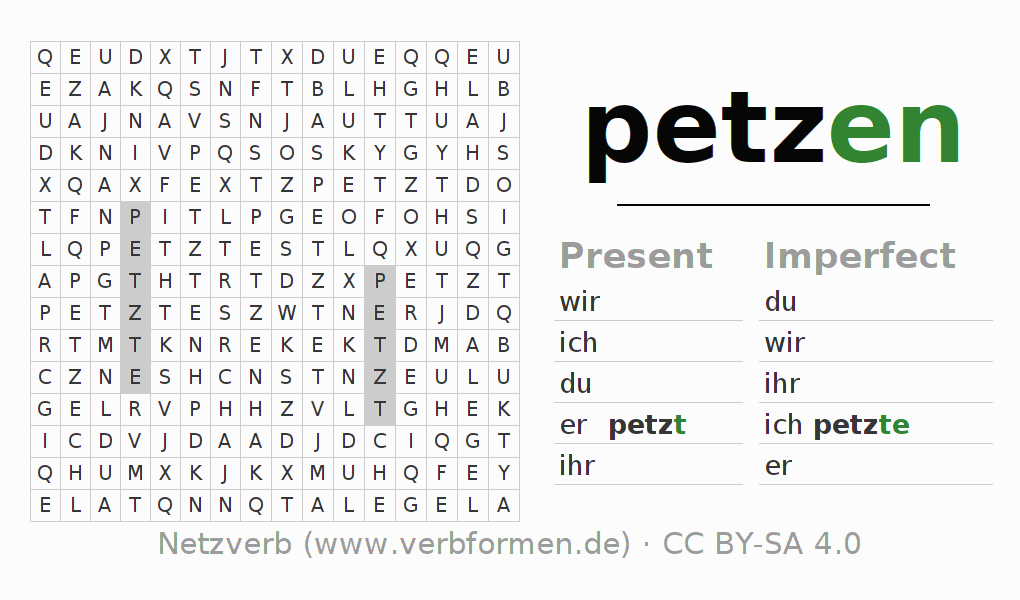 Word search puzzle for the conjugation of the verb petzen