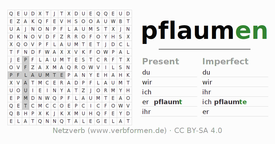 Word search puzzle for the conjugation of the verb pflaumen