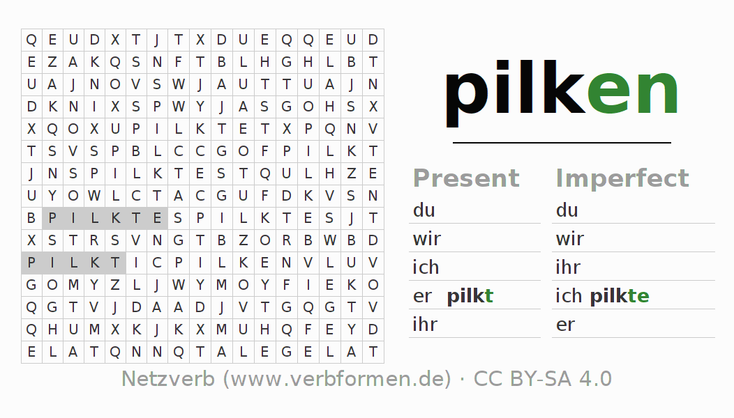 Word search puzzle for the conjugation of the verb pilken