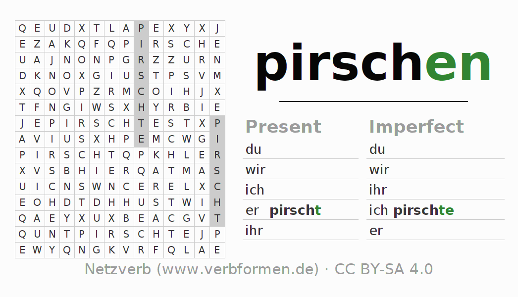 Word search puzzle for the conjugation of the verb pirschen (hat)