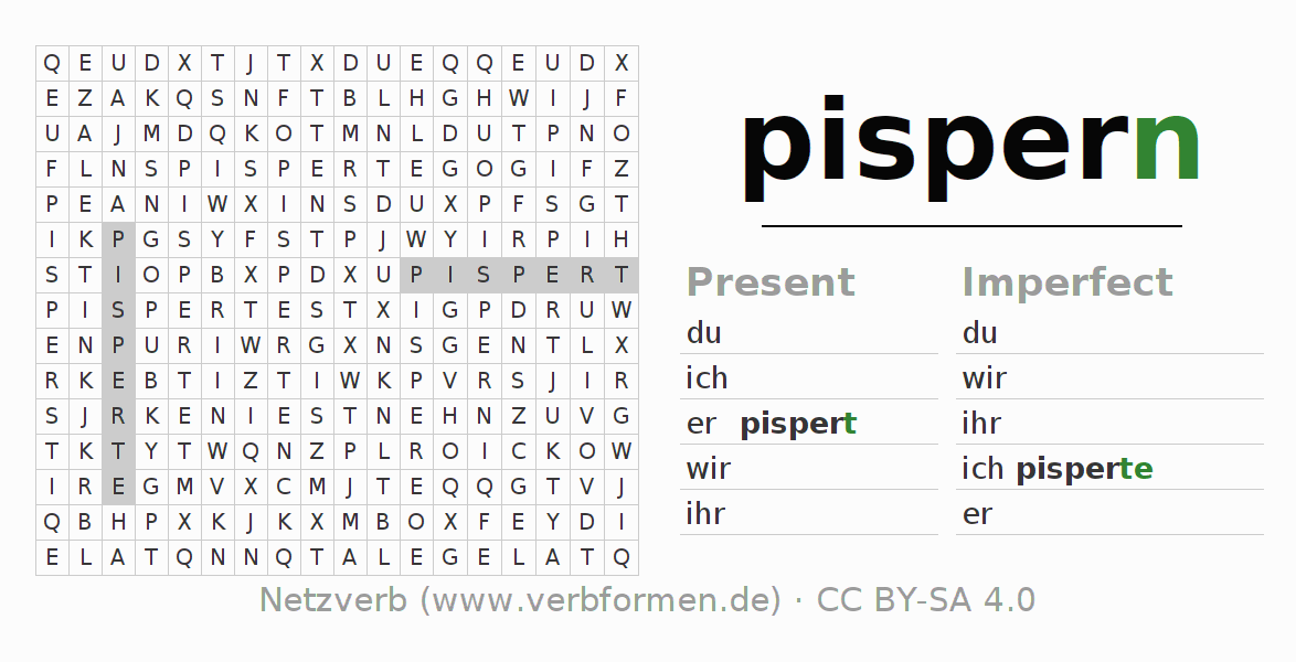 Word search puzzle for the conjugation of the verb pispern