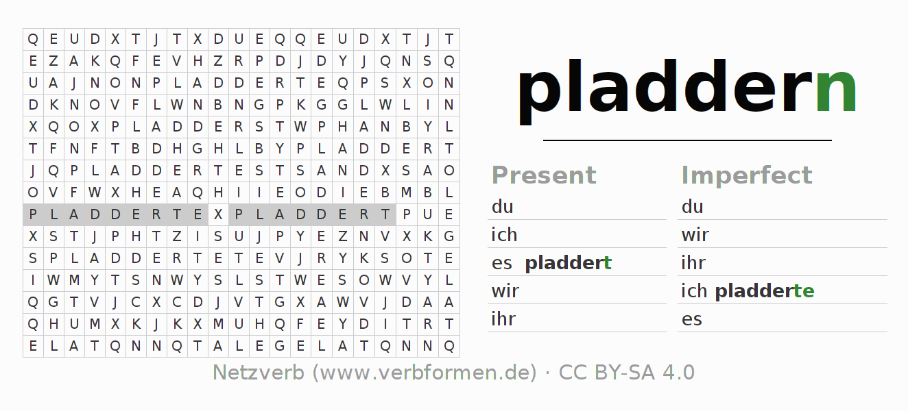Word search puzzle for the conjugation of the verb pladdern
