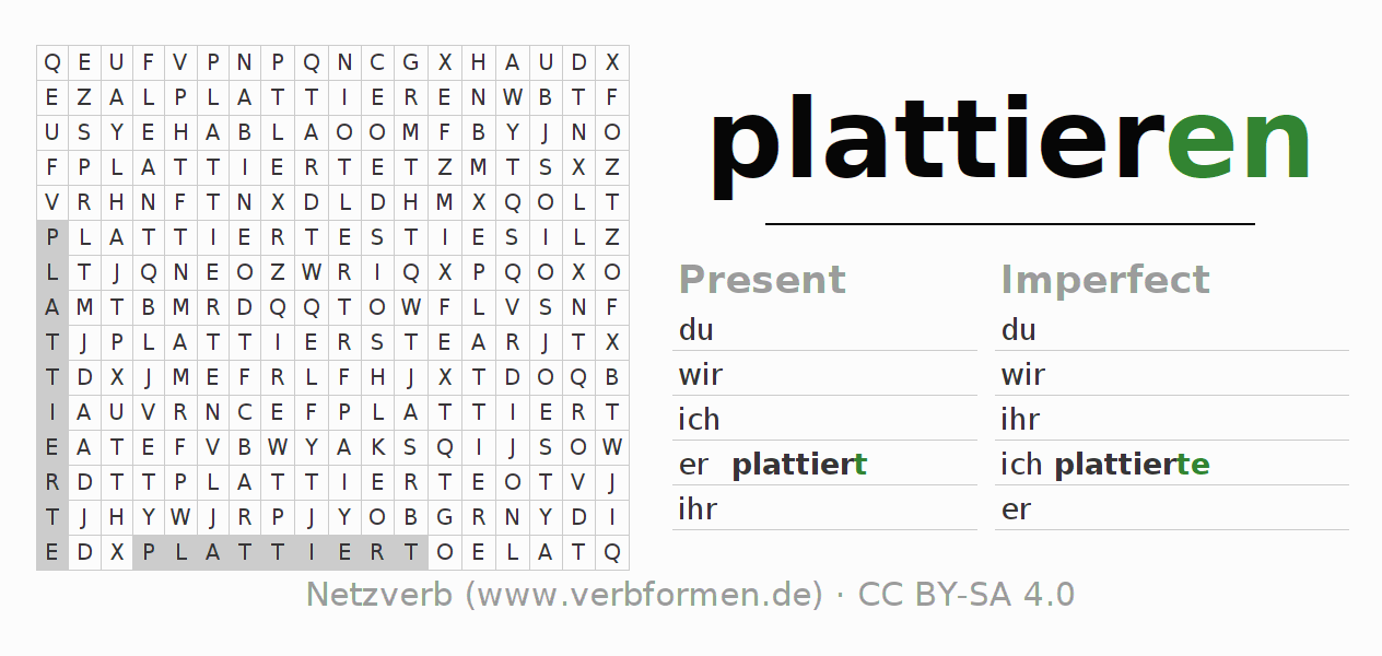 Word search puzzle for the conjugation of the verb plattieren