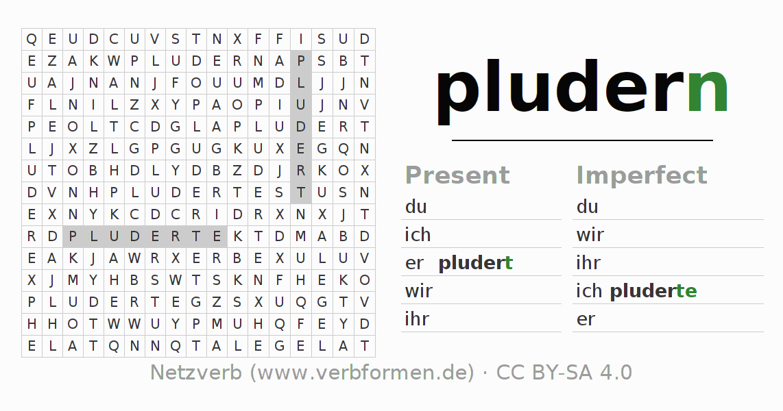 Word search puzzle for the conjugation of the verb pludern