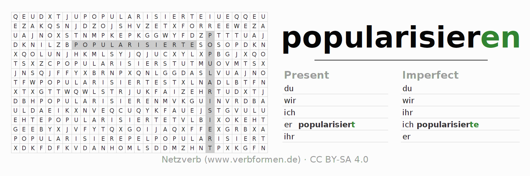 Word search puzzle for the conjugation of the verb popularisieren