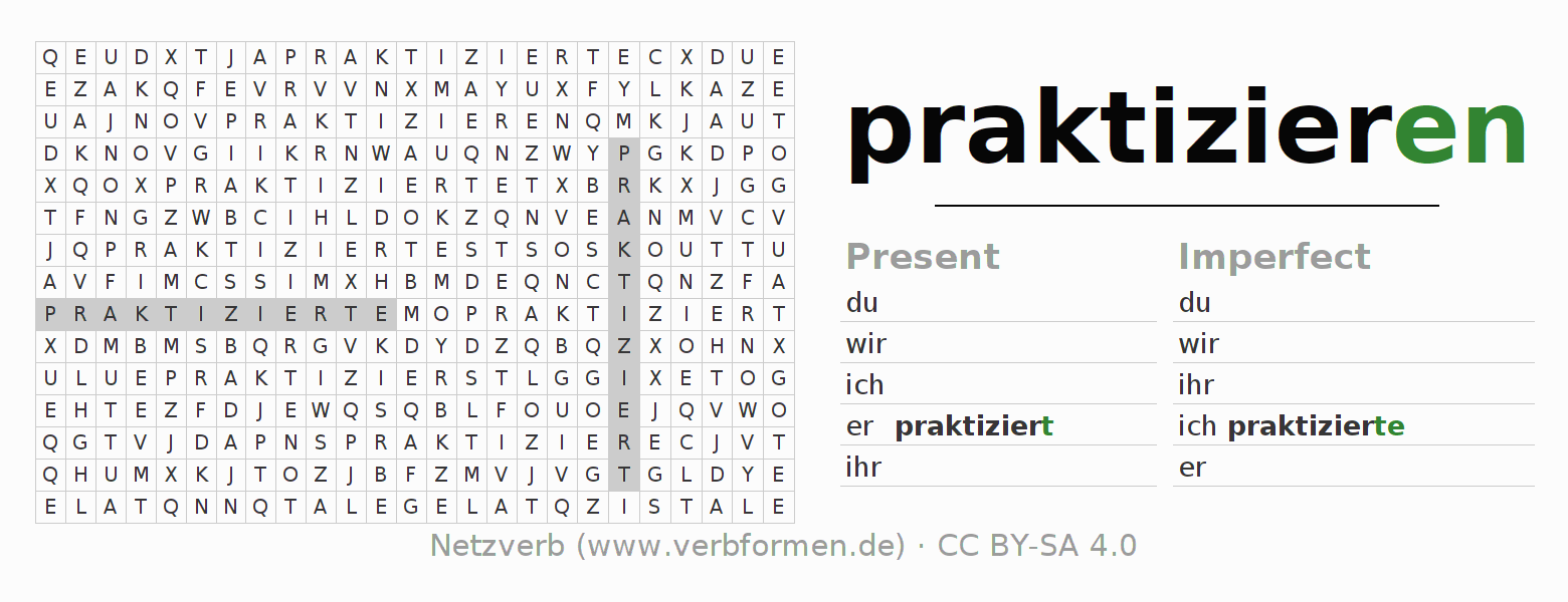 Word search puzzle for the conjugation of the verb praktizieren