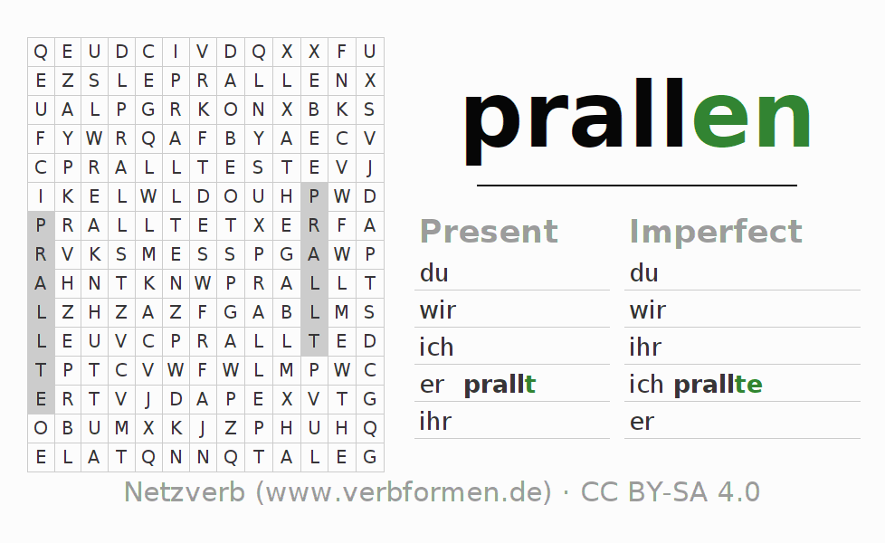 Word search puzzle for the conjugation of the verb prallen (hat)