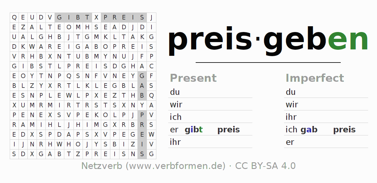 Word search puzzle for the conjugation of the verb preisgeben