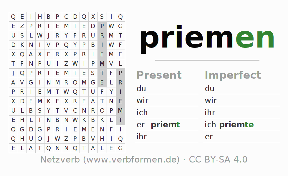 Word search puzzle for the conjugation of the verb priemen