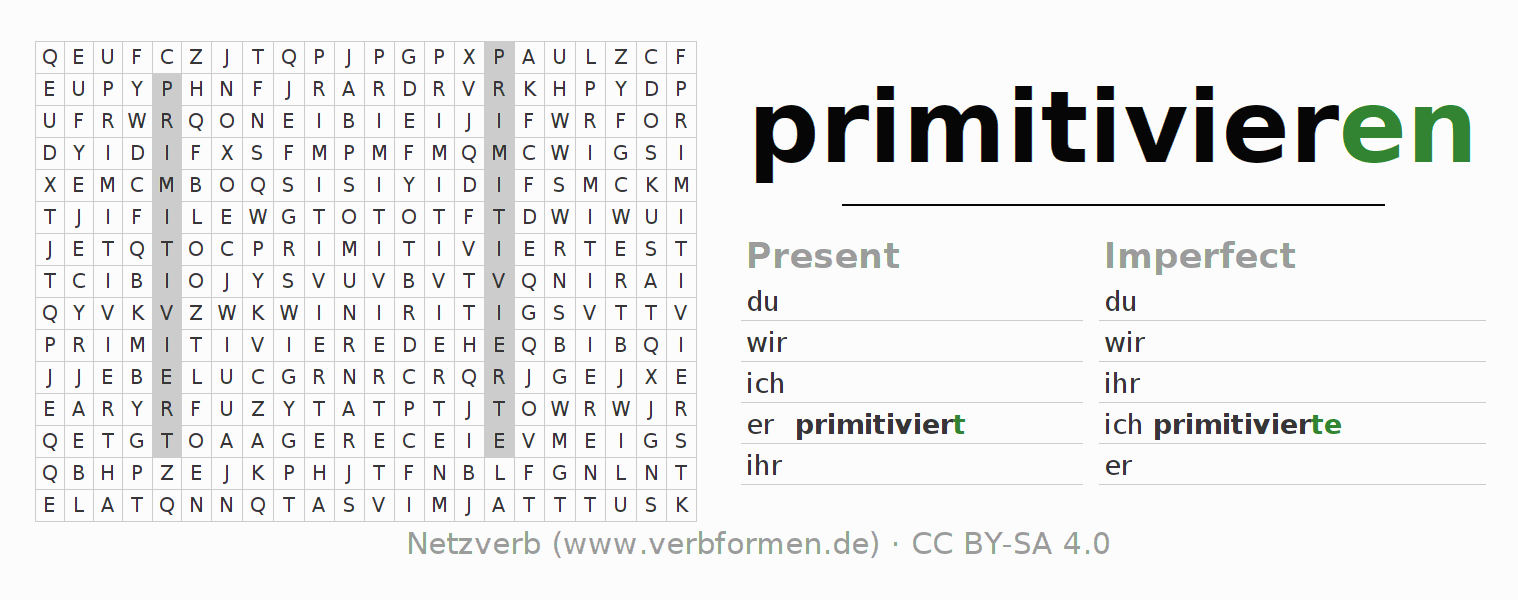 Word search puzzle for the conjugation of the verb primitivieren