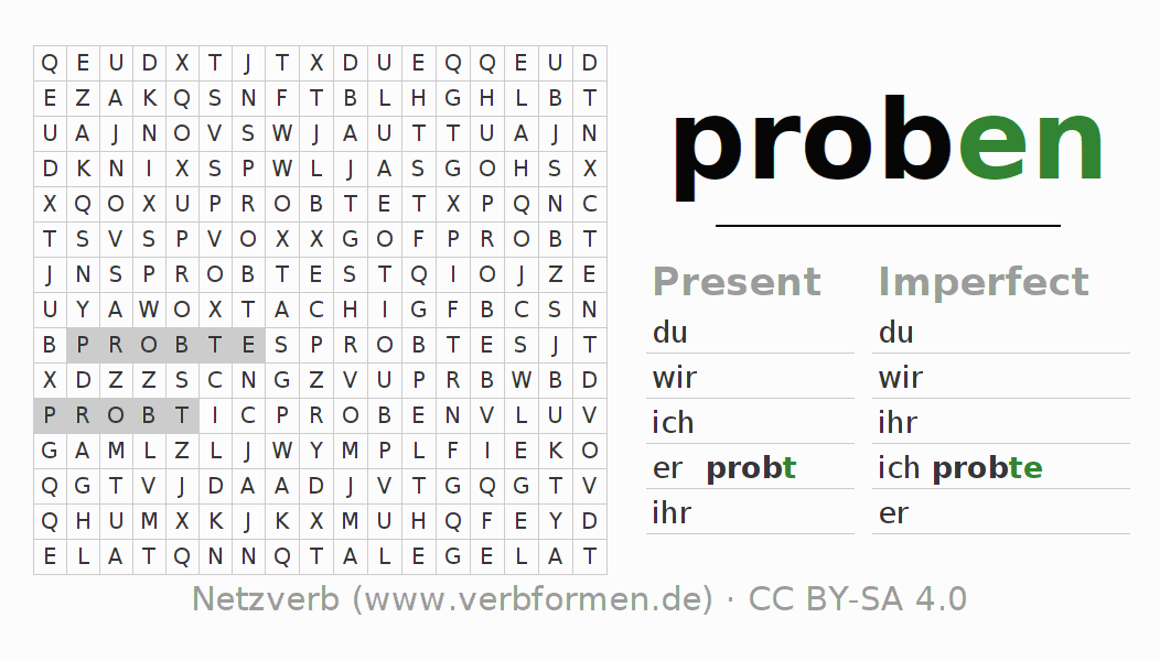 Word search puzzle for the conjugation of the verb proben
