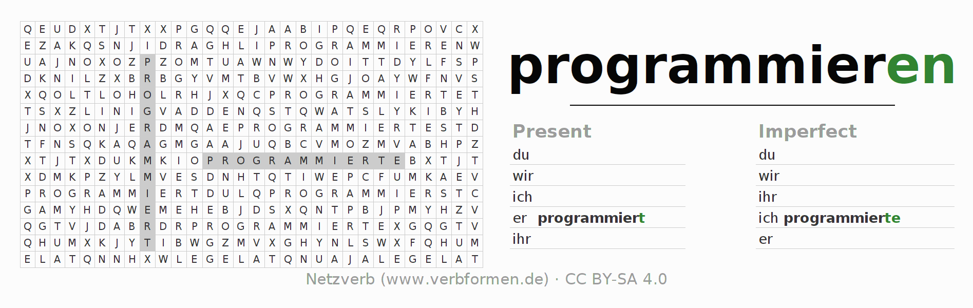 Word search puzzle for the conjugation of the verb programmieren