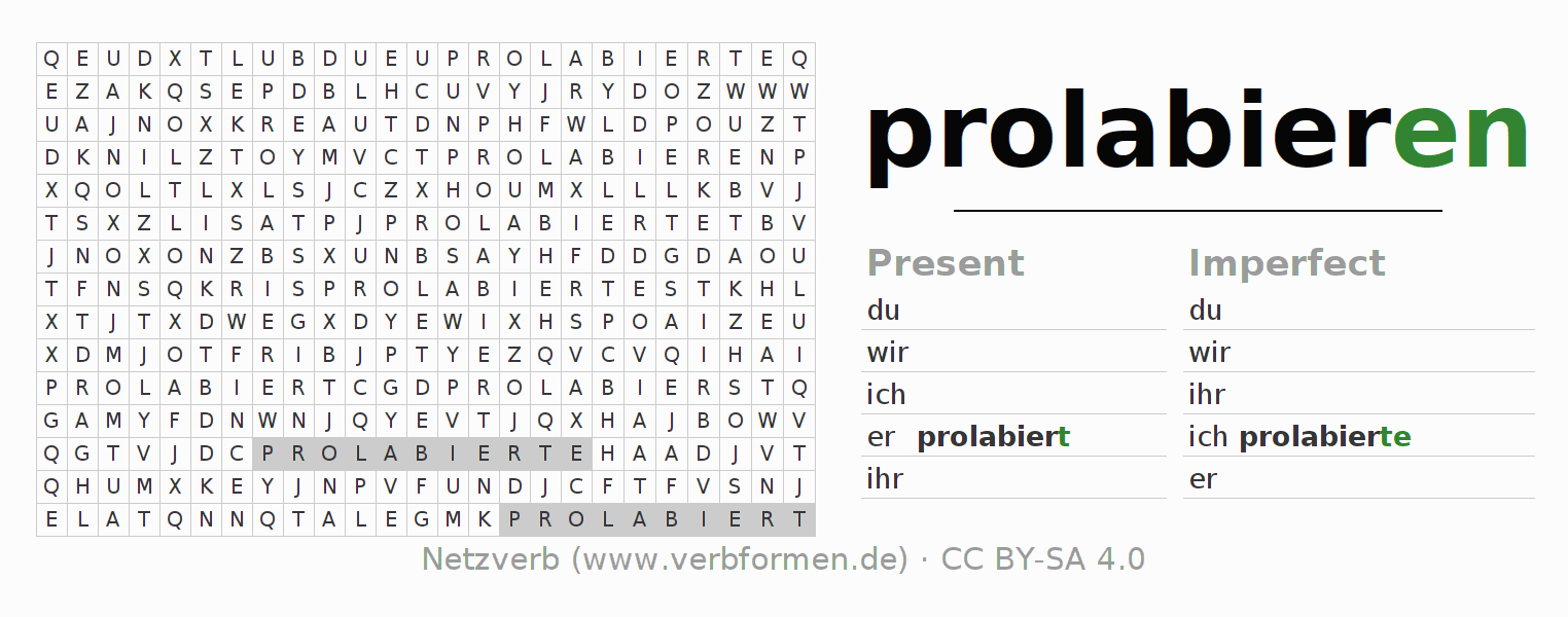 Word search puzzle for the conjugation of the verb prolabieren (hat)