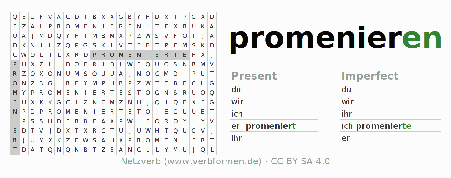 Word search puzzle for the conjugation of the verb promenieren (ist)