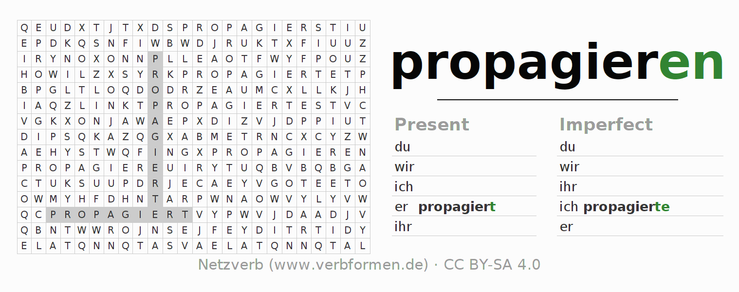 Word search puzzle for the conjugation of the verb propagieren