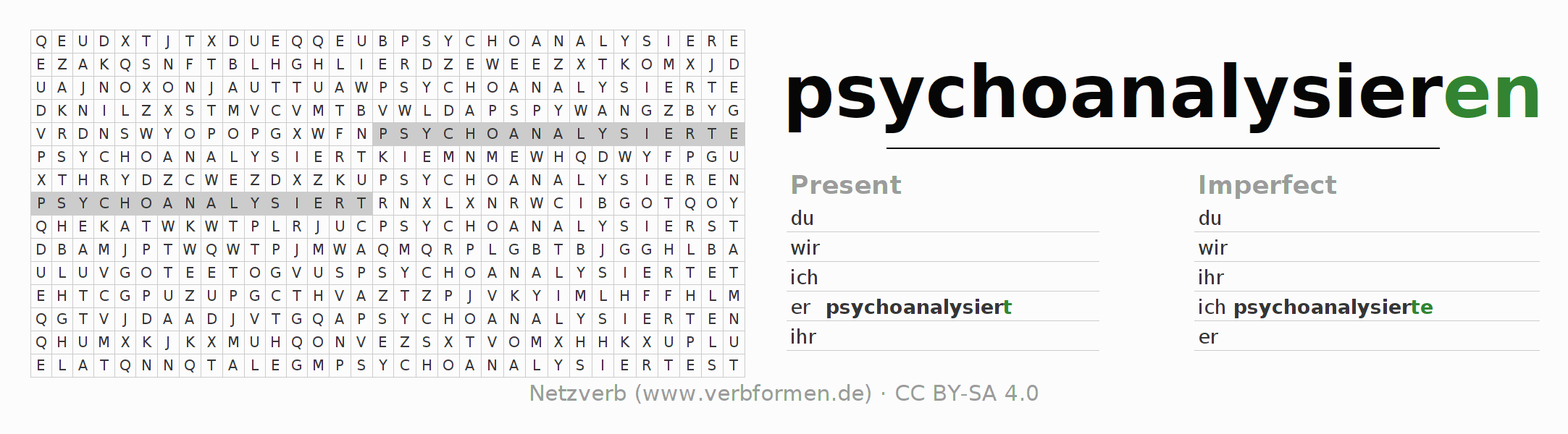 Word search puzzle for the conjugation of the verb psychoanalysieren