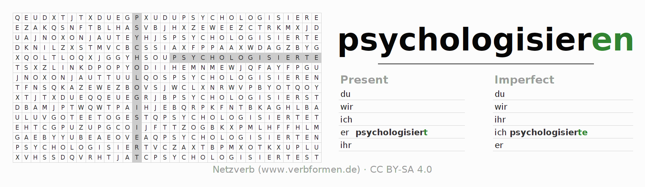 Word search puzzle for the conjugation of the verb psychologisieren