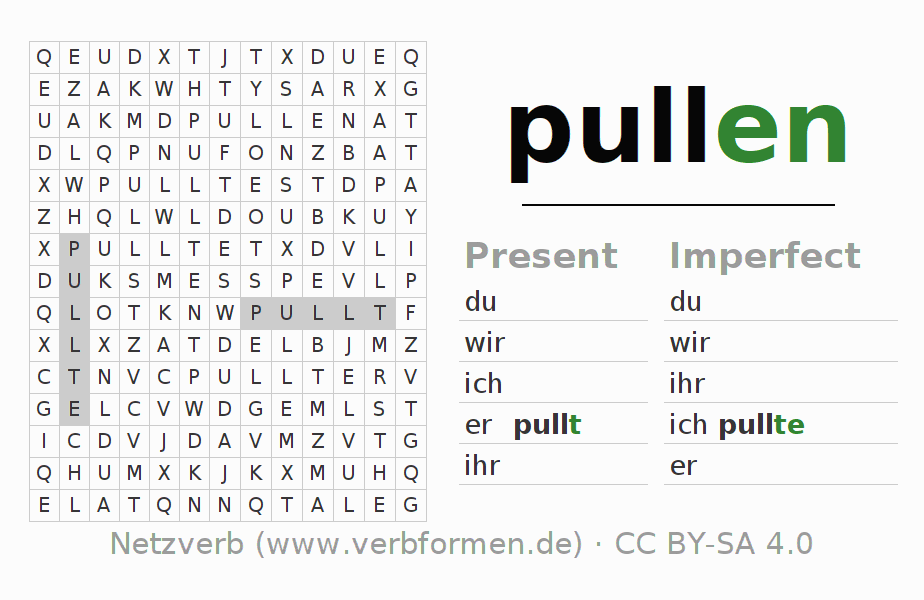 Word search puzzle for the conjugation of the verb pullen