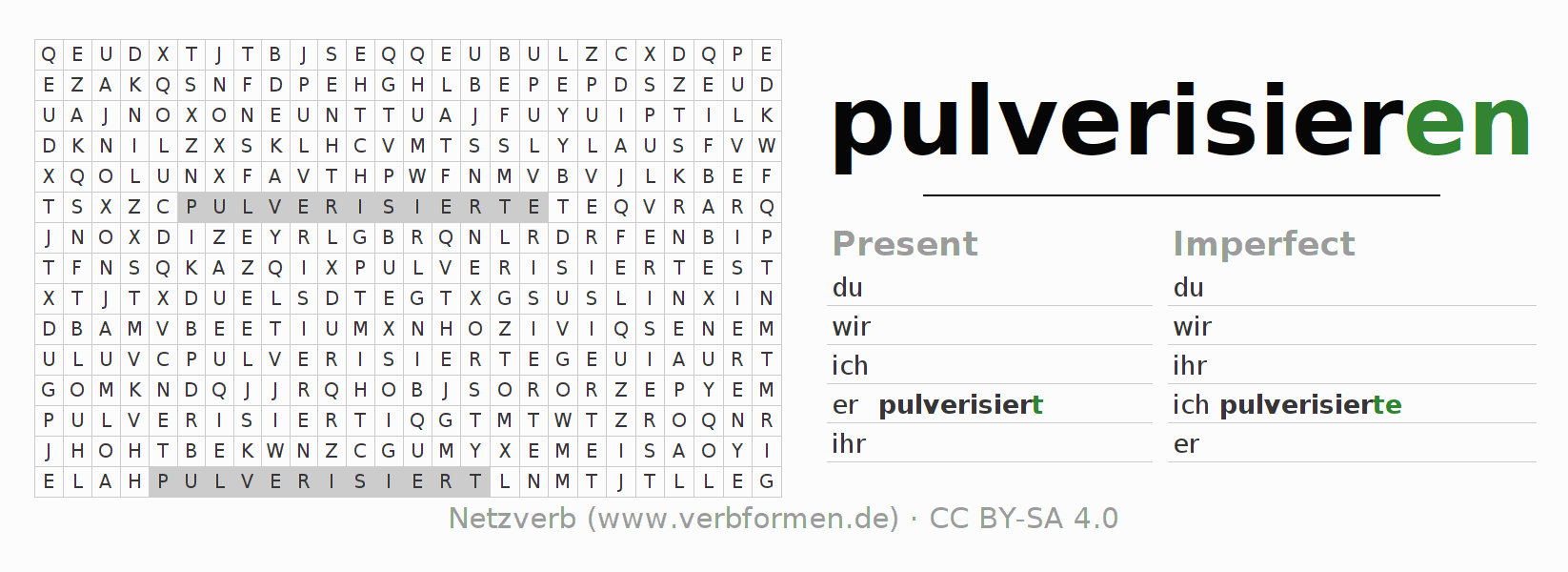 Word search puzzle for the conjugation of the verb pulverisieren