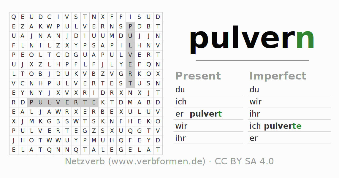 Word search puzzle for the conjugation of the verb pulvern