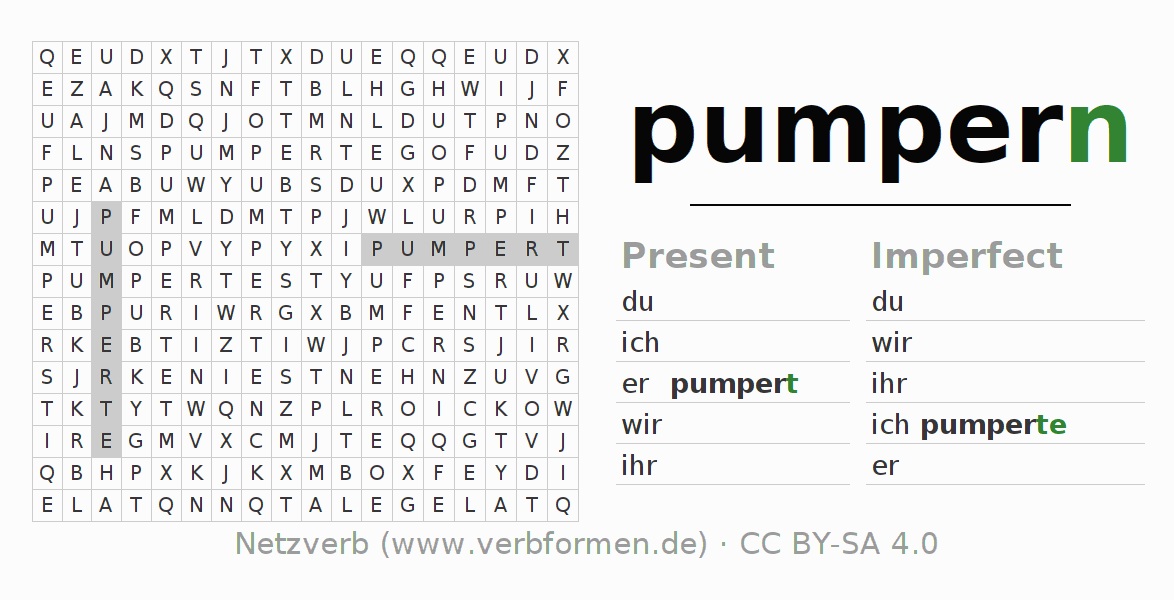 Word search puzzle for the conjugation of the verb pumpern