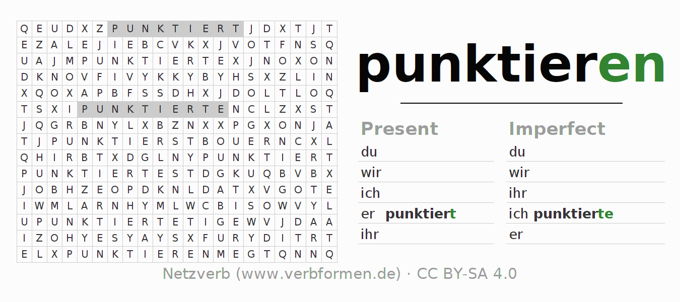 Word search puzzle for the conjugation of the verb punktieren