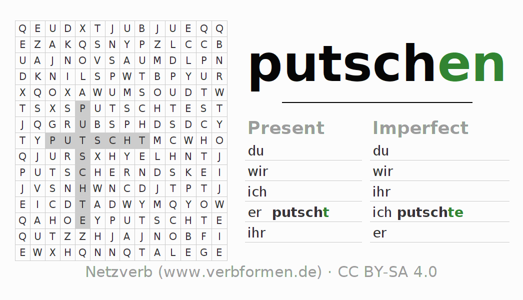 Word search puzzle for the conjugation of the verb putschen