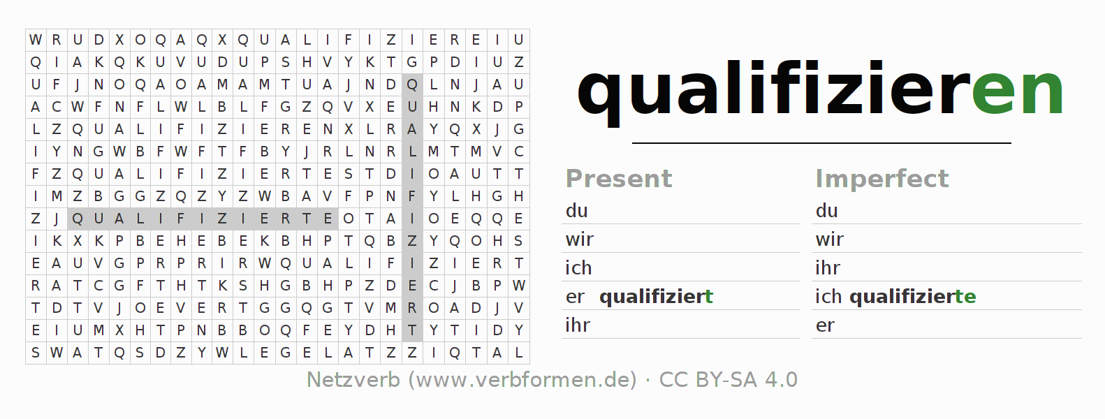 Word search puzzle for the conjugation of the verb qualifizieren