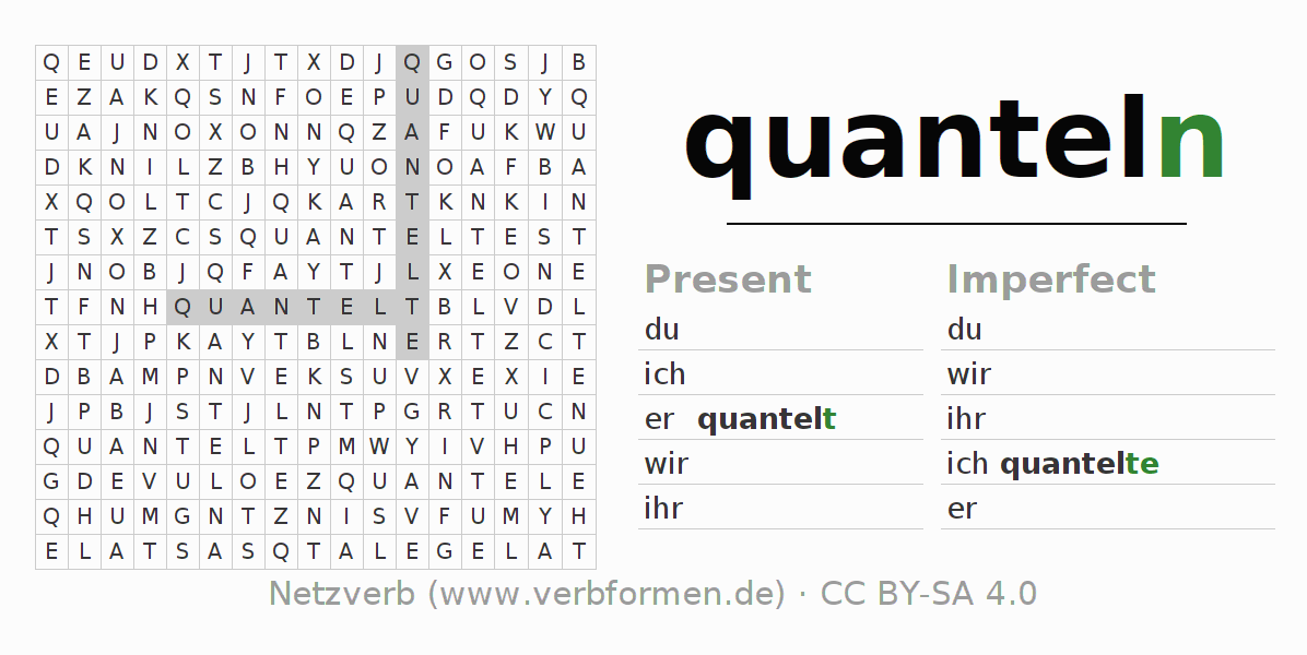 Word search puzzle for the conjugation of the verb quanteln