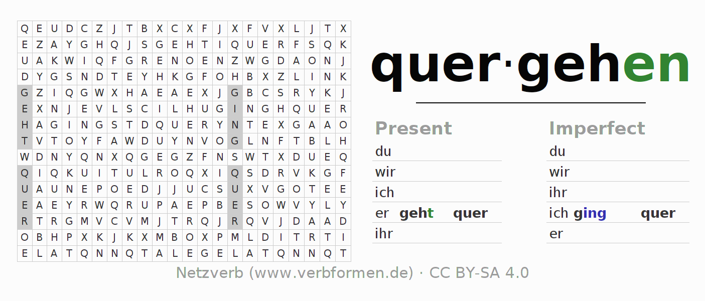 Word search puzzle for the conjugation of the verb quergehen